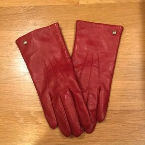 Coach Red Leather Gloves.